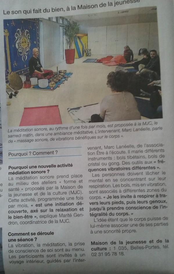 Article Ouest France, Méditation Sonore