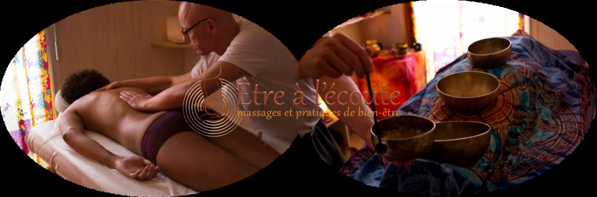 Associer le massage toucher à l'huile et les vibrations sonore aux bols tibétains