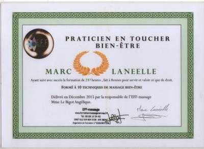 Certificat Marc Lanéelle Praticien en Toucher Bien-être