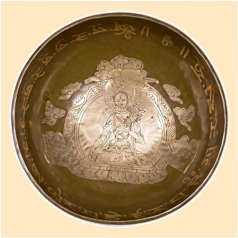 Bol chantant tibétain Purification Tara Blanche  vu de fond